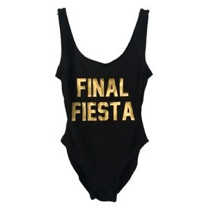 Other - Brides Final Fiesta Black One Piece Bathing Suit S